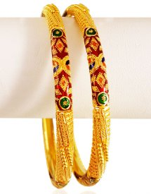 22kt Gold Pipe Style Bangles (2pcs)
