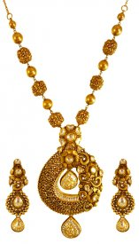 22k Gold Antique Necklace Set ( 22K Antique Necklace Sets )