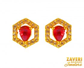 Gold Earrings with Ruby stone ( Gemstone Earrings )