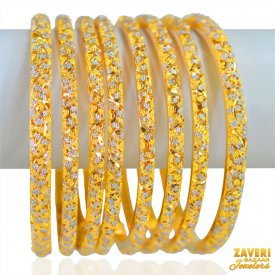 22k Gold Two Tone Bangles (8 Pcs) ( Gold Bangle Sets )