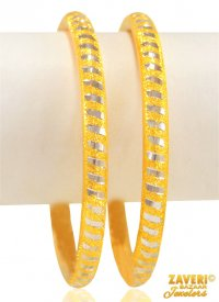22 Kt Two Tone Laser Pipe Bangles