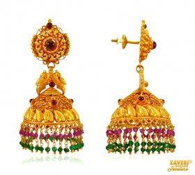 22 Kt Gold Temple Jhumki Earrings ( Gold Long Earrings )