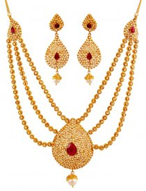 22K Gold Ruby Bridal Set