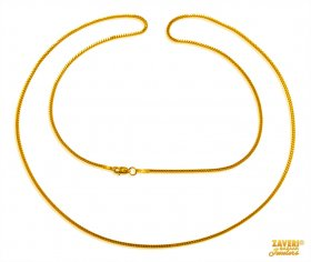 Box Chain 22 Karat Gold (22 In) ( Plain Gold Chains )