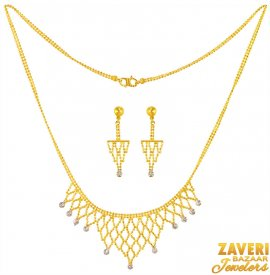 22 k Two Tone Chain Necklace ( 22K Light Necklace Sets )