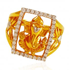 22K Gold Mens Ring with Lord Ganesh