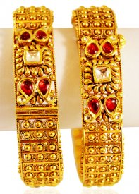 22k Gold Antique Kadas 2(Pc) ( 22K Antique Bangles )