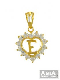 Gold Signity (E) Pendant ( Gold Initial Pendants )