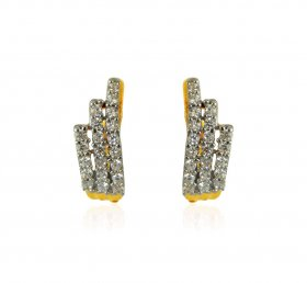 22K Gold CZ Earrings  ( Gold Clipon Earrings )