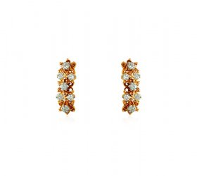 22K Fancy CZ Earrings ( Gold Clipon Earrings )