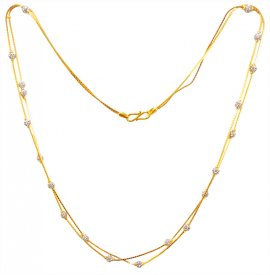 22kt Gold Two Tone Chain Necklace for Girls