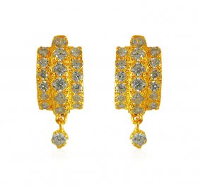 22Kt Gold CZ Clipon Earrings  ( Gold Clipon Earrings )
