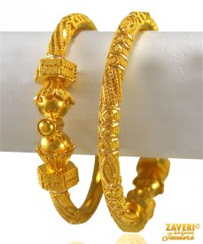 22 kt Yellow Gold Pipe Kada (2 PCs)