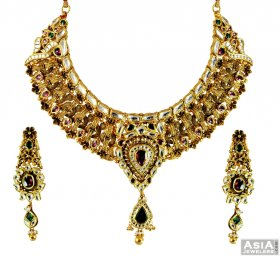 22k Antique Designer Kundan Set ( 22K Antique Necklace Sets )