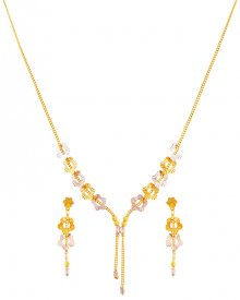 22K Two Tone Necklace Set ( 22K Light Necklace Sets )