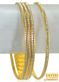 22k Rhodium Gold Bangles Set (4 Pc)
