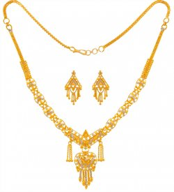 22Kt Gold Two Tone Set ( 22K Light Necklace Sets )