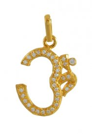 22K Om Pendant with CZ