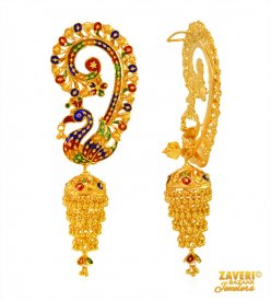 Peacock Jhumki Earrings 22kt gold