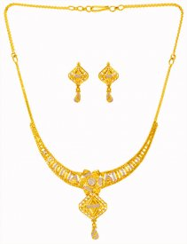 22Kt Gold Small Necklace Set ( 22K Light Necklace Sets )
