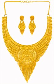 22 Karat Gold Fancy Necklace Set ( 22K Gold Necklace Sets )