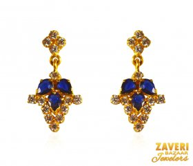 22K Gold Earrings with Sapphire ( Gemstone Earrings )