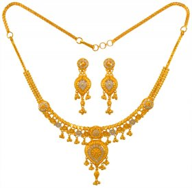 22K Two Tone Necklace Set