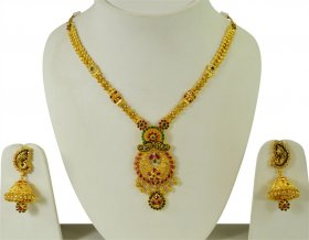 Gold 22k Designer Necklace Set ( 22K Antique Necklace Sets )