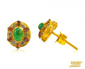 22Kt Earrings with Emerald and CZ ( Gemstone Earrings )