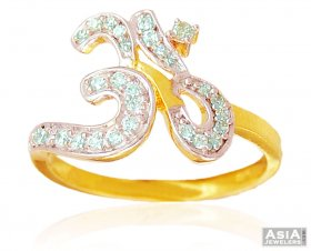 22K Ladies Ring with OM ( Gold Religious Rings )