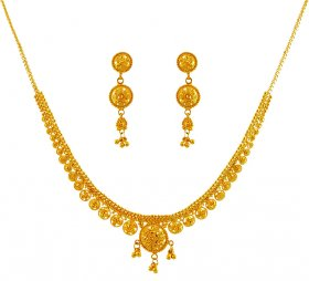 22K Gold Necklace Earrings Set ( 22K Light Necklace Sets )