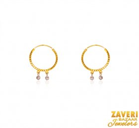 22Karat Gold Two Tone Hoops  ( 22K Gold Hoops )