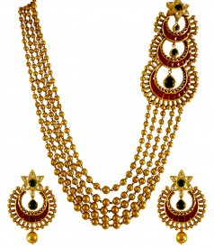 22k Gold Designer Antique Set ( 22K Antique Necklace Sets )