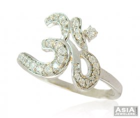 White Gold Stone Om Ring (18 K) ( White Gold Rings )