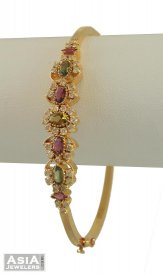 18k Diamond Bracelet With Tourmalines ( Diamond Bangles )