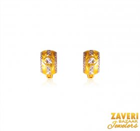 22Kt Two Tone Gold Clipon Earrings  ( Gold Clipon Earrings )