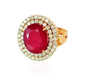 18K Designer Ruby Diamond Ring