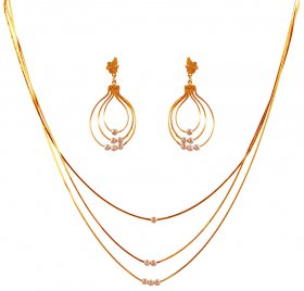 22K 2 Tone Layered Necklace Set