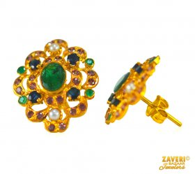 22 Kt Gold Fancy Emerald Tops  ( Gemstone Earrings )