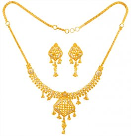 22K Gold Two Tone Necklace Set