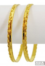 22K Gold Machine Bangles (pair) ( 22K Gold Bangles )