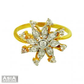 Beautiful Two Tone Floral Ring 22k ( Stone Rings )