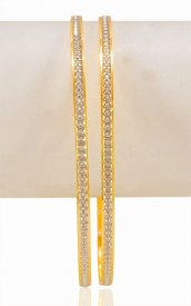 22k gold Bangles with white rhodium