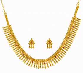 Gold Mullamottu Maala Set ( 22K Gold Necklace Sets )
