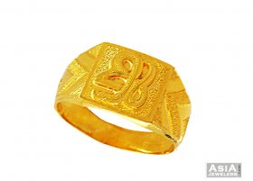 22K Fancy Ek Onkar Ring  ( Gold Religious Rings )