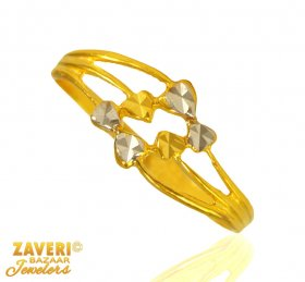 22 Karat Gold 2 Tone Ring ( 22K Gold Rings )
