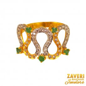 22K Gold Color Stone  Ring  ( 22K Exquisite Rings )