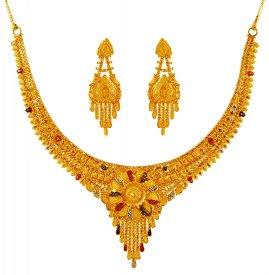 Tricolor Gold Necklace Earrings Set ( 22K Light Necklace Sets )