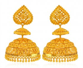 22Kt Gold Traditional Jumkhie ( Gold Long Earrings )