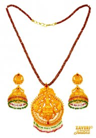 22 Kt Temple Jewelry Necklace Set ( 22K Antique Necklace Sets )